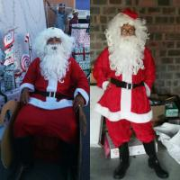 Customer wearing the Father Christmas costume.