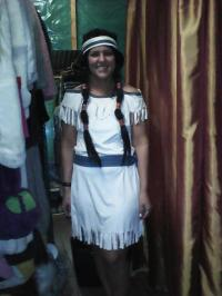 Customer wearing the Native American Indian costume.
