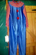 Blue clown with red/white