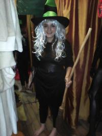Customer wearing the Witch costume.