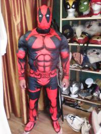 Customer wearing the Deadpool costume.